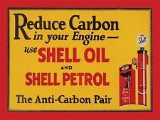 Reducir carbono en su motor Shell Motor Oil Auto Moto Metal Placa Señal De Estaño 780