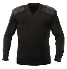 Para Hombre Llano Negro Militar Ejército Sas Pullover Jumper Caballeros Resistente hombro Botones