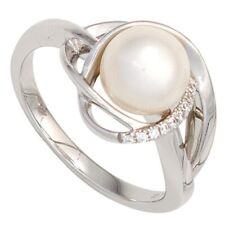 anello donna con Acqua dolce Perla & 9 Diamanti Brillanti Oro 585 Oro bianco