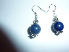 BOUCLES D'OREILLES  LAPIS LAZULI perles 10mm argent 925
