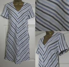 NEW Next Shift Tunic Dress Linen Blend Summer Chevron Striped Blue Ivory 8-18