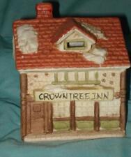 Lightable Collectible Ceramic Christmas Village Rustic Inn VG Condition