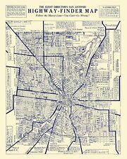 Old City Map - San Antonio Texas Highway Finder - 1929 - 23 x 28.73