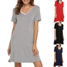 Women Nightgown Short Sleeve Solid Sleep Shirt Dress Soft Loose Sleepwear LaceCA