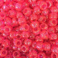 Pink Glitter Pony Beads 9x6mm -ALL AMOUNTS-