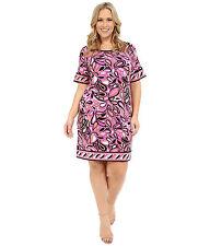 NWT $110 Michael Kors Calabasas Plus Size Border Dress 0X 1X 2X Plum Blossom