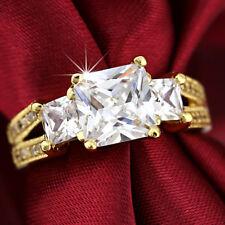 9K GOLD GF R306A TRINITY Square DIAMOND LAB DRESS ENGAGEMENT WEDDING Bridal RING