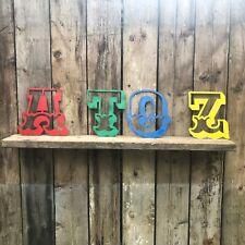 "12"" COLOURED CARNIVAL LETTERS metal rustic shop sign lettering words vintage A-Z"