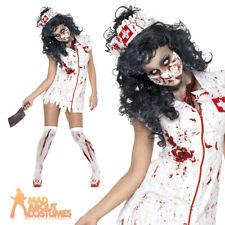 Halloween Zombie Nurse Costume Ladies Womens Scrubs Fancy Dress Adult Size 4-18