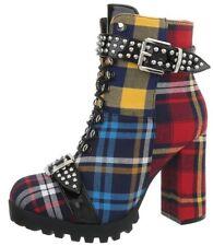 Stivaletti donna tacco alto stringati tronchetto scozzese con plateau e lacci