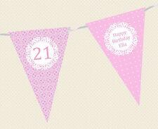 personnalisé à motif & à pois anniversaire âge bunting- Bannière Décoration Fête