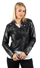 femmes noir rétro BRANDO style 100% veste motard en cuir