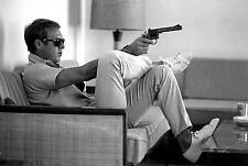 Steve McQueen con pistola LIFE RIVISTA D'ARTE TELA Poster Stampa iconica MOVIE STAR