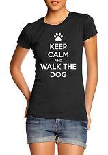 Mantener Calm y a pasear al perro divertido amante del animal doméstico T-Shirt Tee para Mujer Regalo