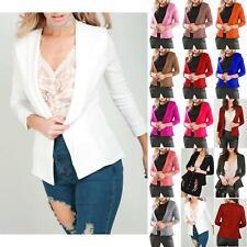 Womens Ladies Stretchy Collar Short Turn Up Sleeve Coat Blazer Jacket