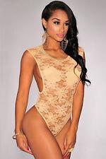 Body camicia maglia ricamato pizzo trasparente Floral Lace Open Sides Bodysuit