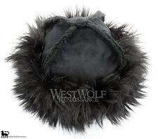Black Fox Fur-Trimmed Viking Hat - Norse/helmet/cap/armor/larp/medieval/cosplay