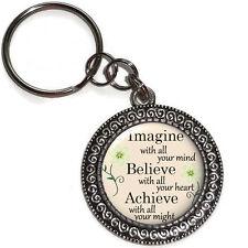 Key Chain Ring IMAGINE BELIEVE ACHIEVE Inspirational Quote Purse Charm Handmade