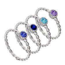 Lot de Bagues Violettes et Bleues Torsades en Argent 925/1000 et Oxydes de Zirco