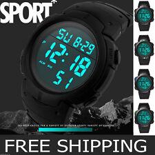 Fashion Men's Boy Waterproof Sport LCD Digital Stopwatch Date Rubber Wrist Watch