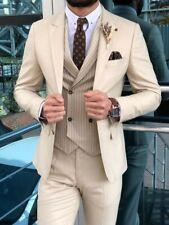 Beige Men 3 Piece Suit Groom Tuxedo Wedding Formal Prom Party Dinner Suit Custom