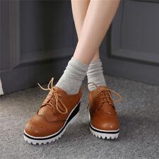 Ladies British Brogues Platform Wedge Heels Wing Tip Lace Up Retro Creepers Shoe