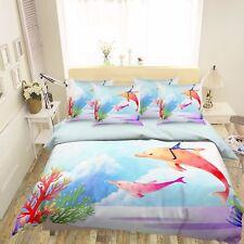 3D Magician Flying Fish 42 Bed Pillowcases Quilt Duvet Cover Set Single Queen CA