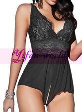 Women Lingerie Sexy Lace Babydoll Nightwear Crotchless Jumpsuit Bodysuit Teddy
