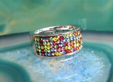 Anillo Acero Inoxidable con Circonia Colorido Piedras Brillantes de Cinta
