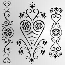 FOLK BORDERS Reusable Stencil A3 A4 A5 Folklore Shabby Chic Craft DIY  Folk1