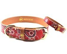 Dog Collar and Matching Friendship Bracelet Set / Bandana Paisley Red Dog Collar
