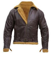 B3 Flight Shearling Pilot Real Sheepskin Brown Bomber Jacket