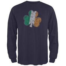 St. Patricks Day - Shamrock Flag Navy Adult Long Sleeve T-Shirt