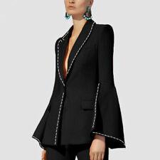 Women Ladies Business Office Tuxedos Trumpet Sleeve Work Wear Formal Suits Black