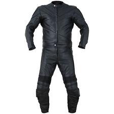 2PC Motorcycle Biker Original Drum Dyed Cowhide Race Suit CE Armor Black RS2
