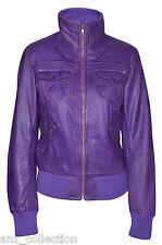 Portland Ladies Purple WASHED Short Bomber Biker Motorcycle Style Leather Jacket