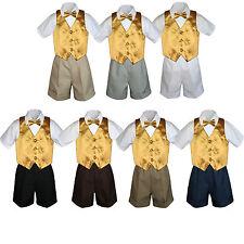 4pc Baby Boys Toddler Formal Gold Vest Bow tie Black Khaki Shorts Set Sm-4T