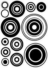 kit Stickers Autocollant Mural - 13 Cercles - 41x57 cm - Réf: A092