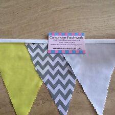 Grey & White Chevron Zig Zag, Yellow & White Cotton Fabric Bunting,