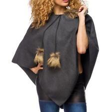 Mantellina donna cappa moda poncho grigio pellicciotto nuovo femmina uy 14413 DD