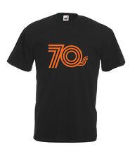 Seventies Orange Text Cool T-SHIRT ALL SIZES # Black