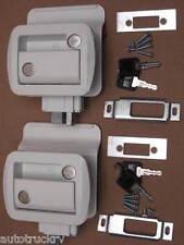 2 White RV Entry Door Lock Handle w/ deadbolt Camper Trailer Global Keyed A Like
