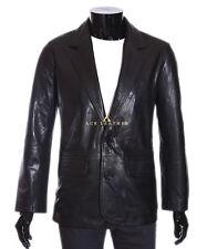 Terrence Negro 2 botón Smart Vintage real estilo suave piel de cordero Blazer