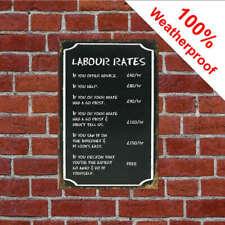 Garage hourly rates fun joke sign Rustic rusty style Ideal mechanics gift 1112