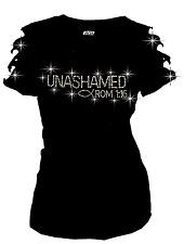 Unashamed Romans 1:16 Christian BLING RHINESTONES T-SHIRT,Angel Wing RIPPED CUT