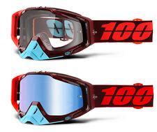 100% porciento RACECRAFT MX Gafas de motocross kikass Claro / LENTE AZUL ESPEJO