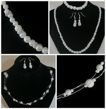 Halskette Ohrringe Set Schmuck Braut Hochzeit Collier Armband Silber Perlen