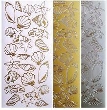 SEASHELLS Peel Off Stickers Beach Ocean Seaside Starfish Shell Card Making