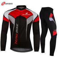 Windproof Men Cycling Bike Bicycle Fleece Winter Thermal Jacket Jersey&Pants Set