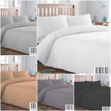 George Home Blue//Grey Seersucker Stripe Double Duvet Set 180 Thread Count